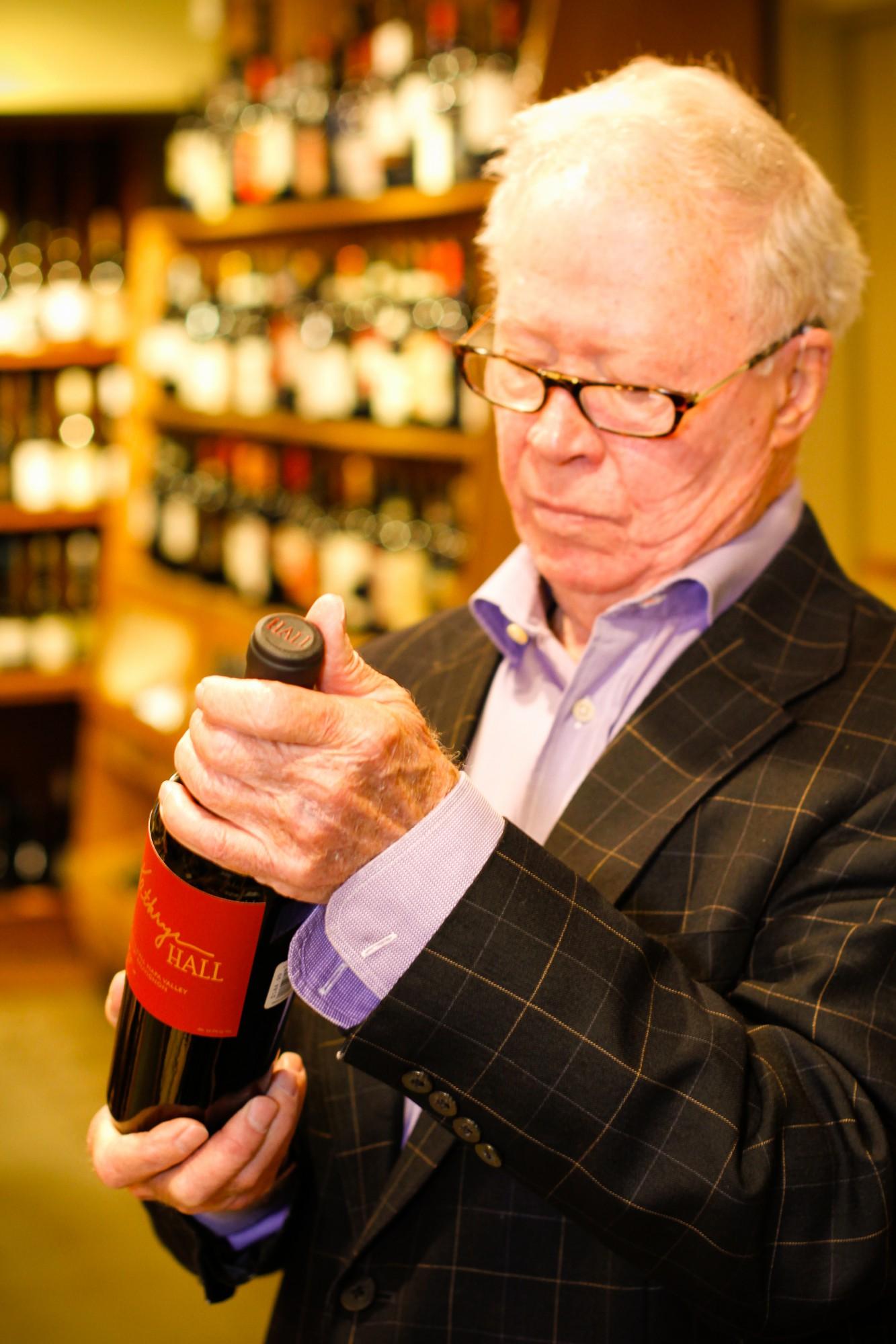 Thomas Power with wine bottle